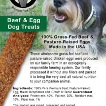 Circle V Beef & Egg Dog Treats Label