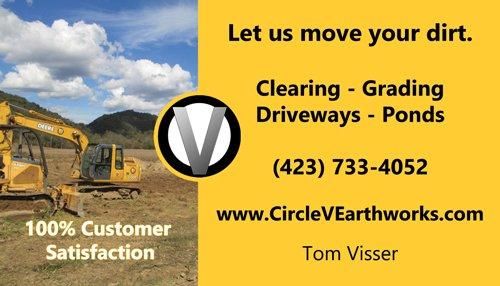 Circle V Earthworks Business Card