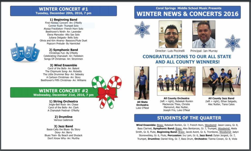 CSMS Holiday Program & Newsletter